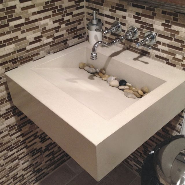 Hand Crafted 48 Ada Floating Sink By Trueform Concrete CustomMade Cool Ada Commercial Bathroom Set