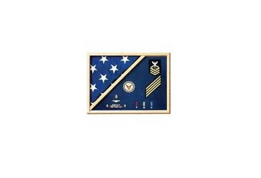 Custom Made Navy Flag Display Case - Navy Flag And Medal Display Case