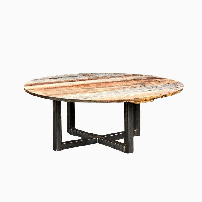 Custom Made Weathered Reclaimed Wood Round Coffee Table. Buy a Hand Made Weathered Reclaimed Wood Round Coffee Table  made