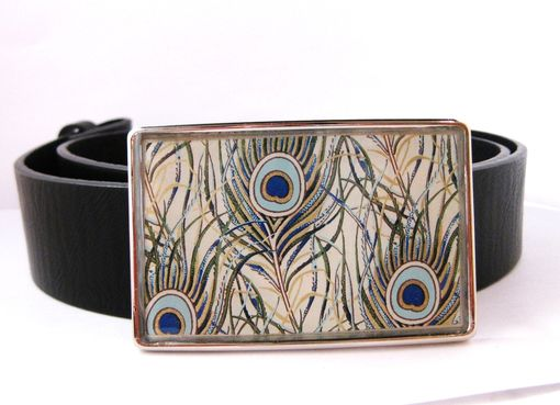 Custom Made Resin Belt Buckle With Peacock Feathers Design