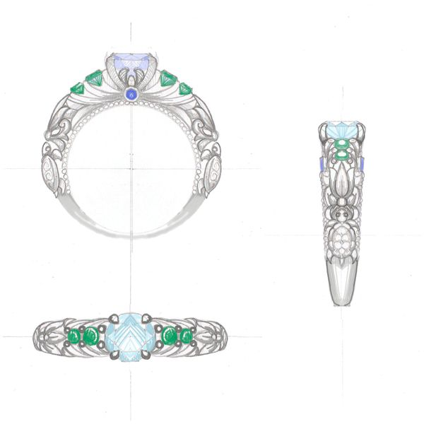 Design sketch for a vintage-inspired engagement ring with turtles detailing the band.