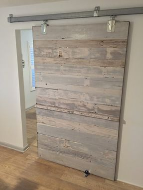 Hand Made Reclaimed Cedar White Wash Sliding Barn Door By