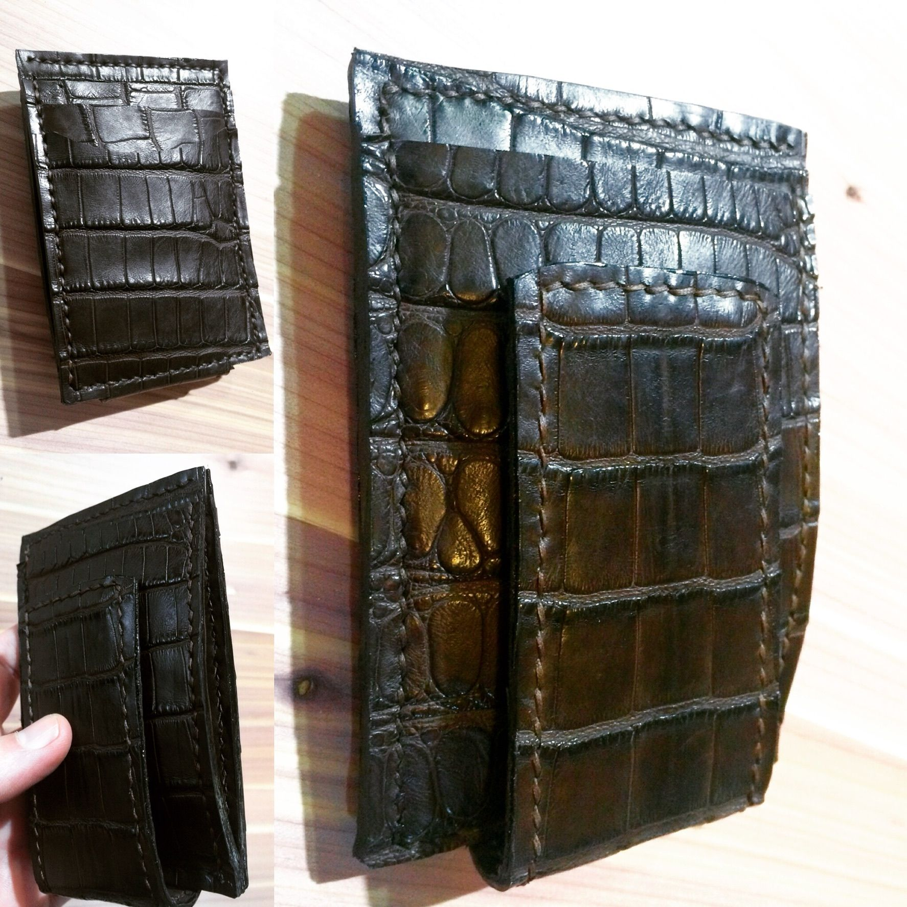 8046b054ed7d7 Buy a Custom American Alligator Card Wallet With Magnetic Money Clip ...