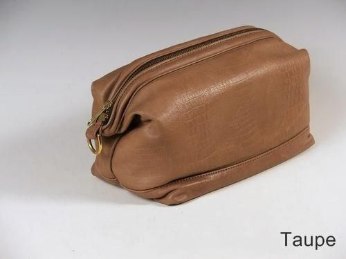 Custom Made Taupe Leather Shave Bag