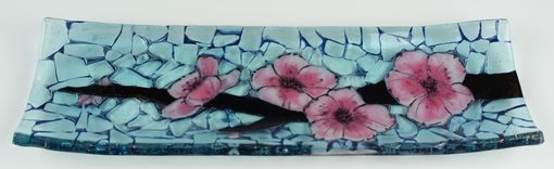 Custom Made Cherry Blossom C- Fused Glass Channel Plate