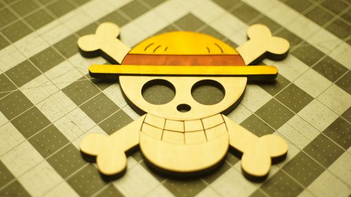 Custom Made Wooden One Piece Straw Hat Jolly Roger