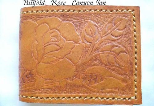 Custom Made Custom Leather Basic Wallet With Rose Design And In Canyon Tan
