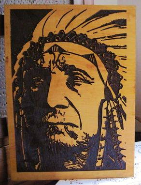 Custom Made A Very Wise Man - Handmade Carved Wood Native American Indian Art - Wall Hanging/Sign