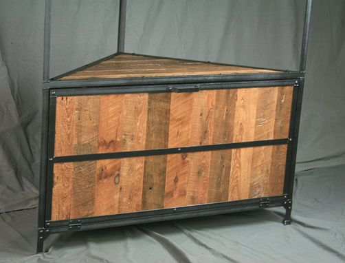 Custom Made Rustic Reclaimed Wood Industrial Corner Hutch. Laundry Unit. Display Case (Retail Case).