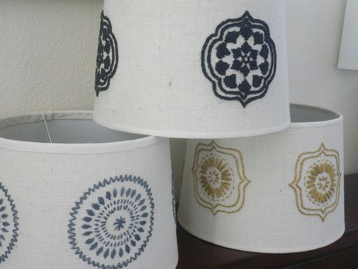 Custom Made Large Hand Embroidered, Burlap Lamp Shade