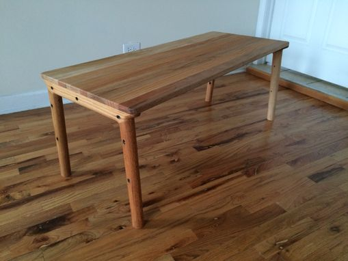 Custom Made Reclaimed Red Oak Mid-Century Modern Inspired Coffee Table