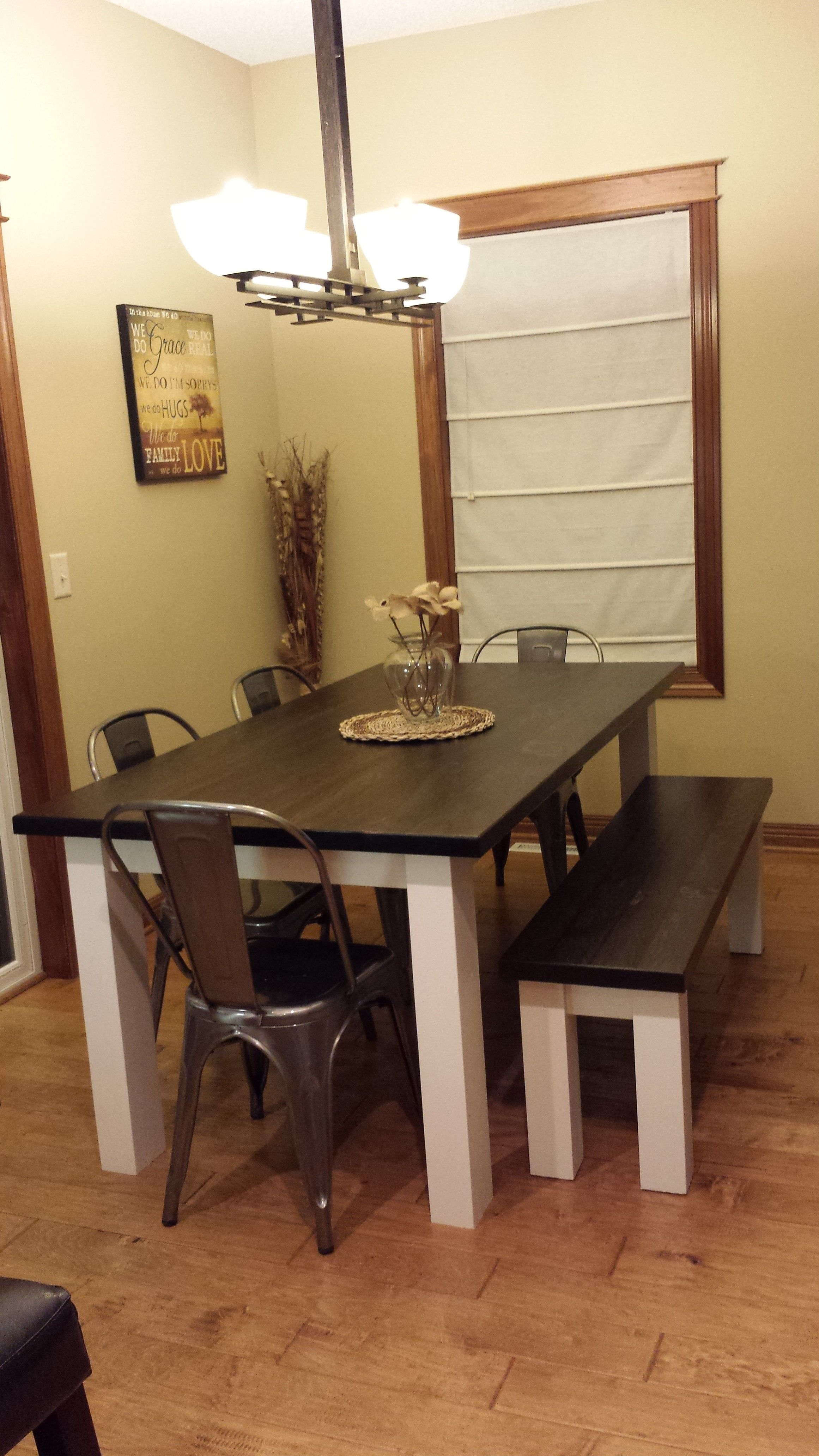 hand crafted white pine farmhouse dining table