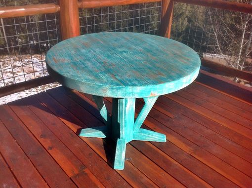 "Custom Made Rustic 48"" Round Solid Pine Dining Table"