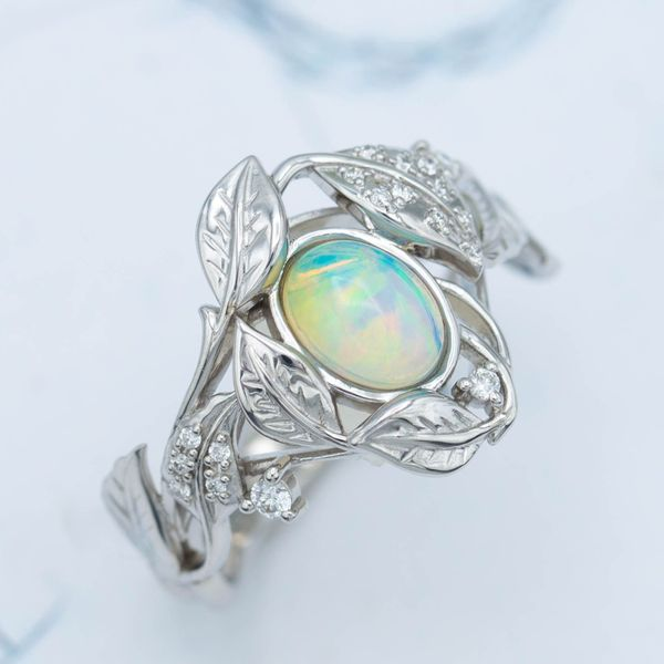The Ethiopian white opal here shows the more vibrant colors that are typical of the region.