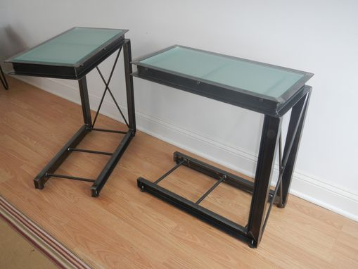 Custom Made Industrial Style Welded Steel And Glass End Tables