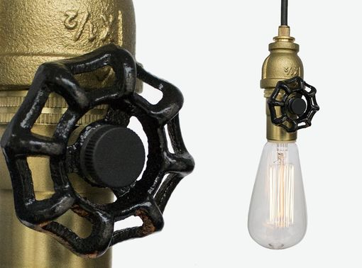 Custom Made Vintage Upcycled Valve Pipe Pendant Light – Brass
