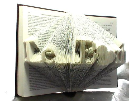Custom Made Business Name Typography Art - Book Origami Featuring Your Business Name - Up To 10 Letters