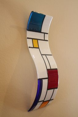 Custom Made White De Stijl Themed Fused Glass Wall Art