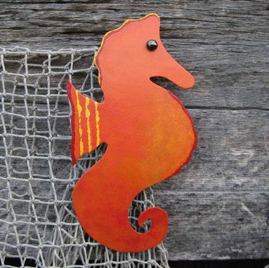 Custom Made Handmade Upcycled Metal Seahorse Wall Art Sculpture In Orange