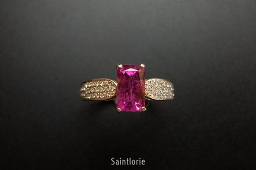 Custom Made 1.8 Carat Rubellite Tourmaline Engagement Ring