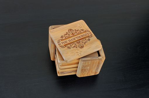 Custom Made Custom Bamboo Coasters, Custom Engraved Coasters --Cst-Bam-Hawthornes