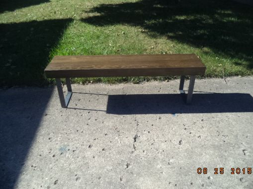 Custom Made 4' Wooden Bench With Steel Legs In A Farmhouse Style