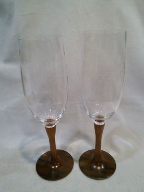 Custom Made Koa And Crystal Wedding Toasting Flutes