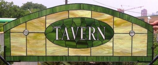 Custom Made Stained Glass Transom -- Tavern Design (W-14)