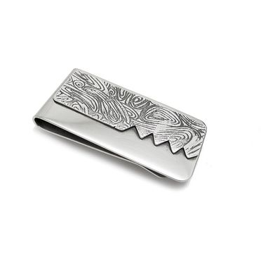 Custom Made Sterling Silver Money Clip - Etched Silver Money Clip - Silver Etching Design Accessory