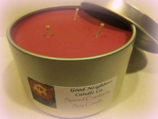 Custom Made Spiced Cranberry Soy Candle, 16 Ounce Tin, Three Wick, Burgundy, Hemp Wicks