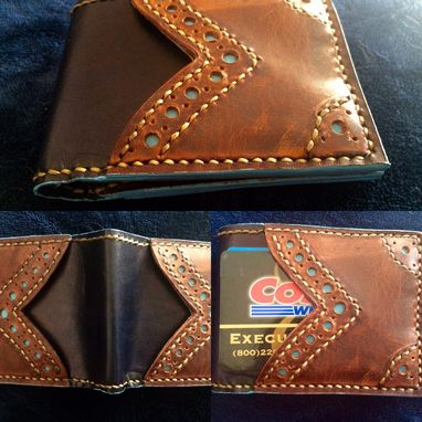 Custom Made Mens Credit Card Wallet With Brogue Styling