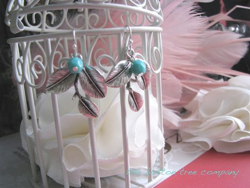 Custom Made Silver-Plated Leaves Earrings With Aqua Czech Beads