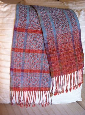 Custom Made Handwoven Silk Ikat Scarf With Shaded Colouring