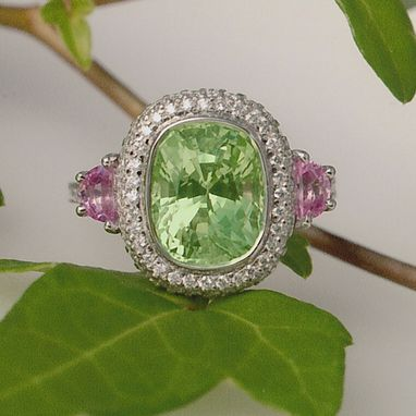 Custom Made Green And Pink Sapphire Ring With Diamond