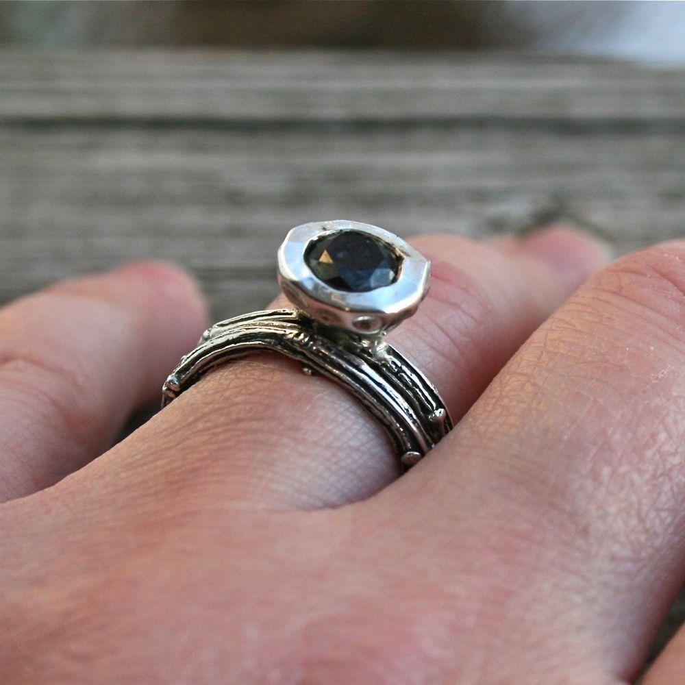 Custom Made Beautiful Black Diamond Tree Branch Wedding Set Size 6