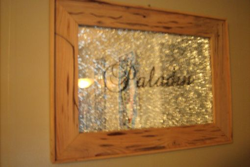 Custom Made Framed Shattered Glass Over Mirror With Decals