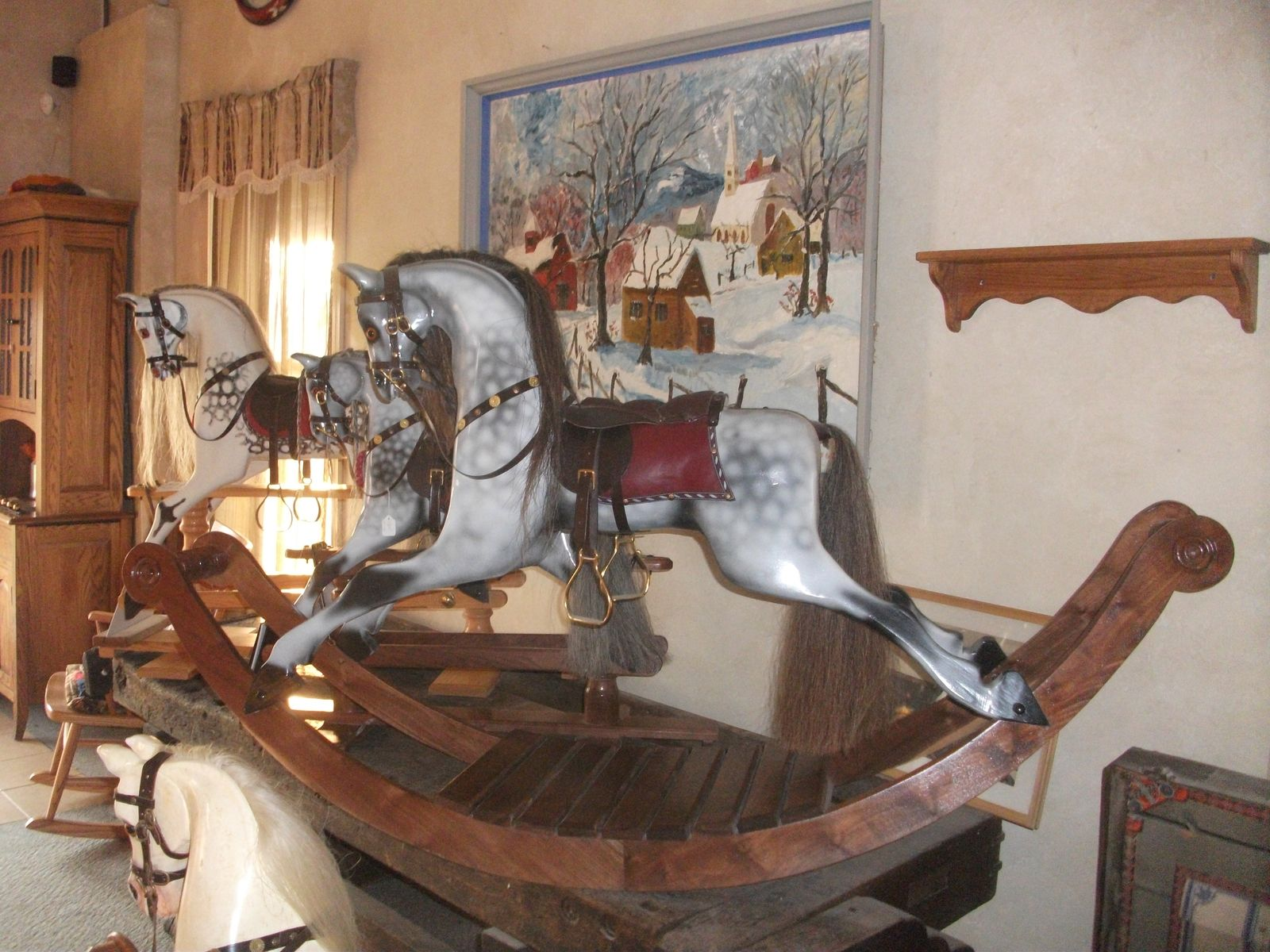 Handmade hand carved victorian rocking horse by greenfield for Hand crafted rocking horse