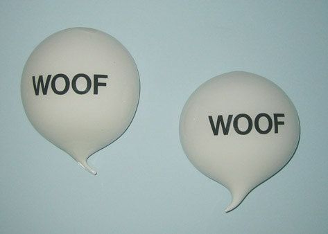 Custom Made Dog Glass Word Balloon Woof Woof