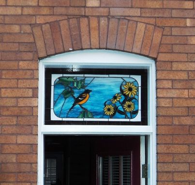 Custom Made Oriole And Black Eyed Susan Stained Glass Transom  (Tw-7)