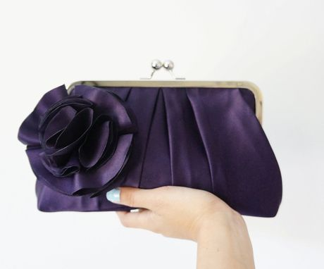 Custom Made Purple Satin Clutch Purse With Handmade Flower Accent