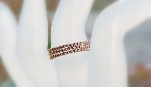 Custom Made Three 14k Rose Gold Filled Dotted/ Full Beaded Unique Stackable Rings / Engagement Stackable Rings
