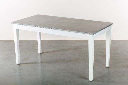 Custom Made Zinc Table  Zinc Dining Table - The Bordeaux Bistro Zinc Top Dining Table -White Finish