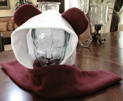 Custom Made Panda Burgundy/White Fleece Ear Scarf Hoodie Hat In 6 Sizes