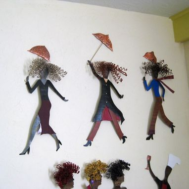 Custom Made Handmade Upcycled Metal Umbrella Lady Wall Art Sculpture In Deep Red And Black