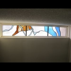 Custom Made Catlea Orchid Stairwell Stained Glass Windows