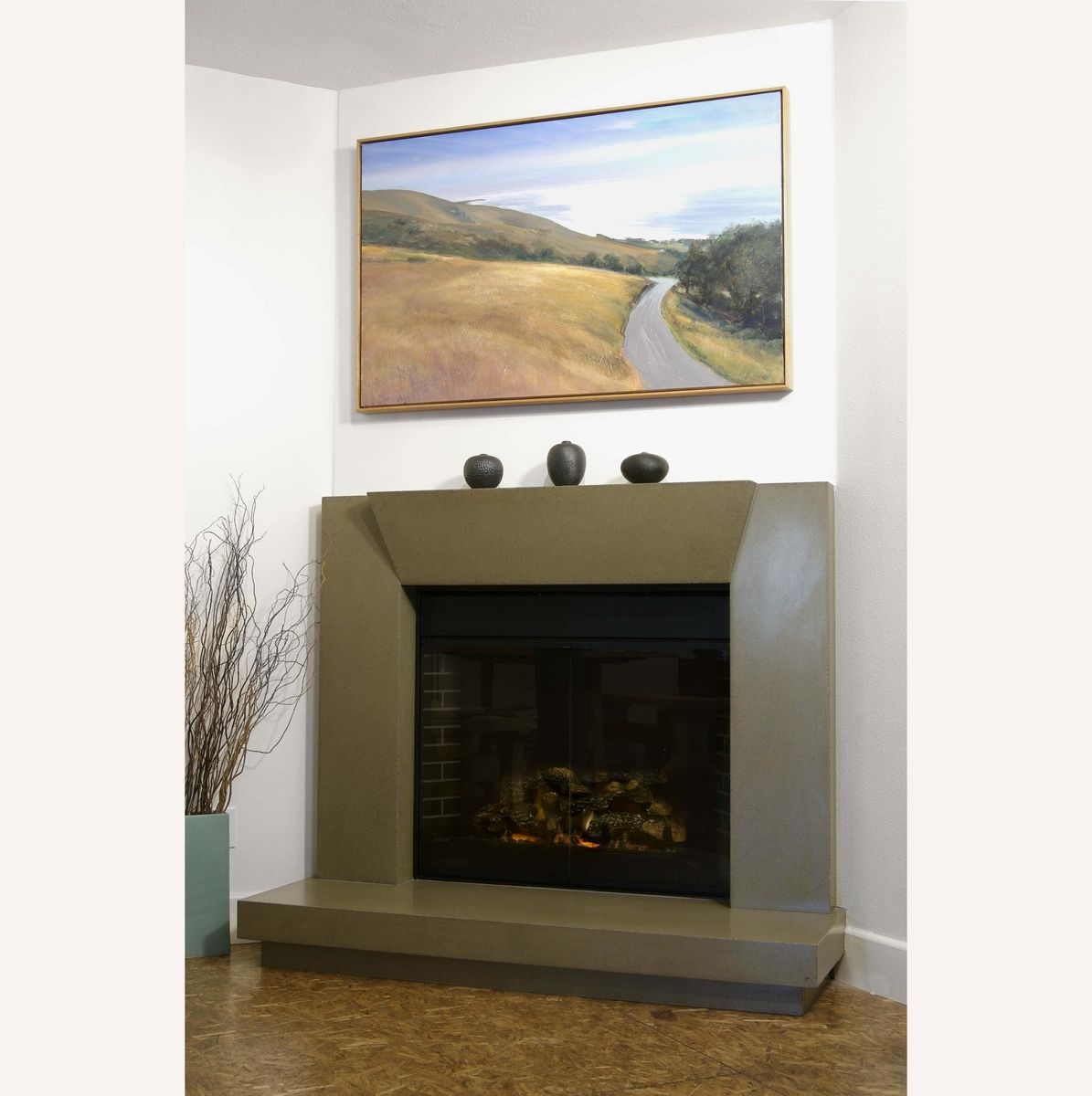 custom contemporary polished concrete fireplace surround by
