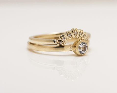 Custom Made 14k Yellow Gold Minimalist Curved Crown Ring Set With Diamonds And White Sapphire
