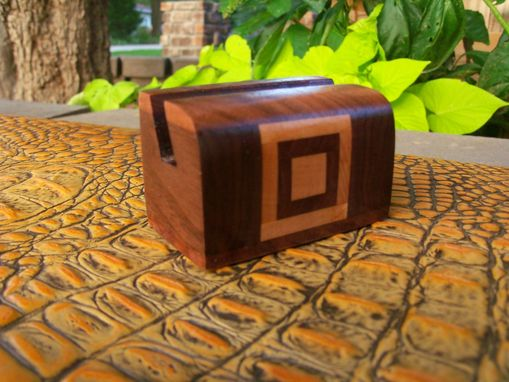 Custom Made Unique Card Holder With Walnut And Cherry Geometric Design