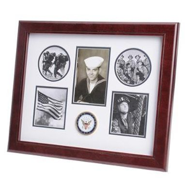 Custom Made U.S. Navy Medallion 5 Picture Collage Frame