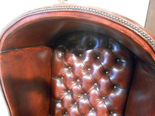 Custom Made Chesterfield Inspired English Leather Chair - Aged Oxblood Color